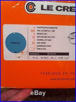 Le Creuset Turquoise Blue 6-3/4 6.75 Qt (6.3L) # 31 Oval Dutch Oven Cast