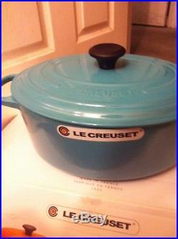 Le Creuset Turquoise Blue 6.75 Qt (6.3L) # 31 Oval Dutch Oven Cast Iron Rare