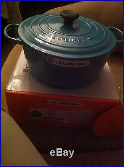 Le Creuset Turquoise Blue 7-1/4 Qt (6.7 L) #28 Round Dutch Oven Cast Iron Rare