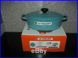 Le Creuset Turquoise/Caribbean Blue 3-1/2 Qt. Wide Oval Dutch Oven-#27 NEW