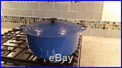 Le Creuset VERY LARGE 13.25 QT Dutch Oven, Blue, Cast Iron & Enamel, Round CLEAN