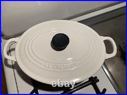 Le Creuset White Dutch Oven Oval #25 3.5 Quart Near Mint Condition France