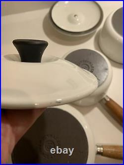 Le Creuset White Saucepan Set 5 Pans RARE Cast Iron Casserole 14 16 18 20 22