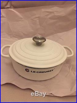 Le Creuset Wide White Sauté 3.5 Quart Dutch Oven Silver Knob NonGlossy Cast Iron