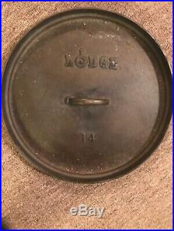 Lodge 14CO Cast Iron Shallow Camp Dutch Oven Made In USA Rare No. 14