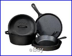 Lodge 5 Piece Seasoned Cast Iron Set Griddle Skillet Dutch Oven Pan Pot Cover