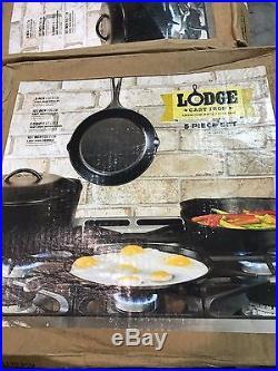 Lodge 5 piece cast iron set New L5HS3
