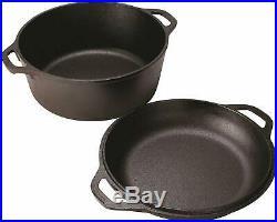 Lodge Cast Iron 5 Qt Double Dutch Oven Pot Casserole Skillet Induction Cookware