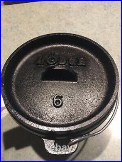 Lodge Cast Iron Camp Dutch Oven 6 Inch 1 qt
