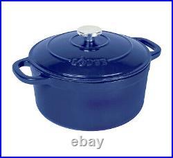 Lodge Enameled Cast Iron 5.5 Quart Dutch Oven Cookware Pot, Indigo Blue