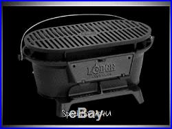 Lodge Pre-Seasoned Cast Iron Grill Outdoor Camping Patio Yard Hibachi Tailgating