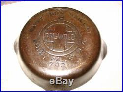 Lqqk Rare Vintage Cast Iron Skillet No. 2 Griswold Erie 703 Large Logo