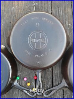 Matching Griswold Large Block Logo Cast Iron Skillet Set #10, 9, 8 Restored R2G