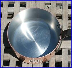 Mauviel 1830 1.75 qt Saucepan withLid, SS lined & cast iron handle, Made in France