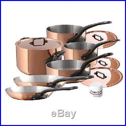 Mauviel M'Heritage M'150c 10 Piece Copper Cookware Set With Cast Iron Handles