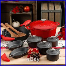 NEW 2017 The Pioneer Woman Timeless 18-Piece Red Cast Iron Essential Set Cooking