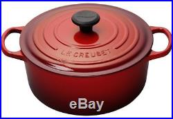 NEW IN BOX LE CREUSET 5.5 QUART CHERRY ROUND DUTCH OVEN With LID