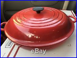 NEW Le Creuset Enameled Cast-Iron Large CHILI Red Braiser Dutch Oven & Lid 5 qt