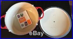 NEW Le Creuset Signature Round Dutch Oven 5 1/2-Qt Red + Cookbook $490 Model 26