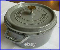 NEW Staub 4-quart 4QT Round Cocotte Cast Iron Dutch Oven Graphite Grey OPENBOX