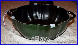 NEW Staub 5 Qt GREEN PUMPKIN COCOTTE Rare Basil Cast Iron Enameled Dutch Oven
