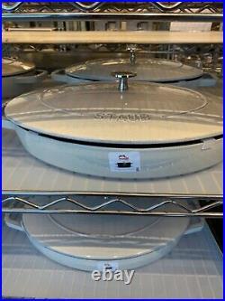NEW Staub Cast Iron 12.5 Oval Gratin Baking Dish with Lid KOHIKI WHITE TRUFFLE