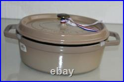 NEW Staub Cast Iron Oval Cocotte POT Dutch Oven Sesame Beige 3.25 qt BRONZE NOB