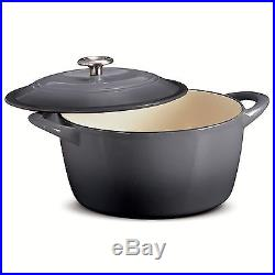 NEW Tramontina Enameled Cast Iron 6.5 Qt Covered Round Dutch Oven -Grey