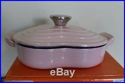 NIB Le Creuset Cast Iron Heart Shaped Dutch Oven dish chiffon pink hibiscus 1-qt