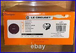 NIB Le Creuset Flower Cocotte 2.25 QT CAST IRON CASSEROLE 20 cm Cassis Purple