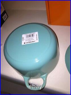 NIB Le Creuset France Cast Iron Round Casserole Oven with Lid Cool Mint 1.5 Quart