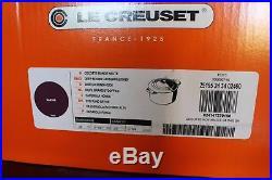 NIB Le Creuset Signature Cast Iron 5.25 q Deep Round Dutch Oven Casserole Cassis