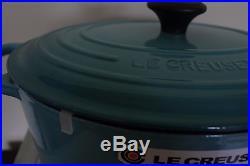 NIB Le Creuset Signature Cast Iron 6.75-qt Oval Dutch Oven caribbean teal blue