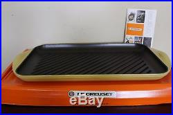 NIB Le Creuset Signature Cast Iron Double Burner XL skinny grill quince yellow