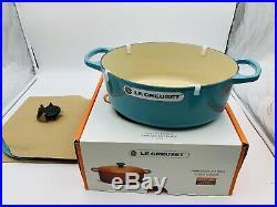 NIB Le Creuset Signature Enameled Cast Iton 5qt Oval Dutch Oven Turquoise