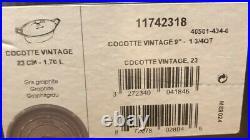 NIB STAUB Oval VINTAGE Cocotte Dutch Oven 1.7 Qt Graphite Grey Domed Lid
