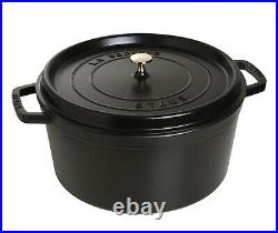 NIB Staub Cast Iron 13.25 qt Dutch Oven French Oven Cocotte withLid MATTE BLACK