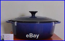New Le Creuset Signature Cast Iron 2.75-qt Round Dutch Oven lapis blue shallow