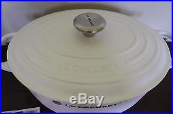 New Le Creuset Signature Cast Iron 6.75-qt Oval Dutch Oven shiny white 6 3/4