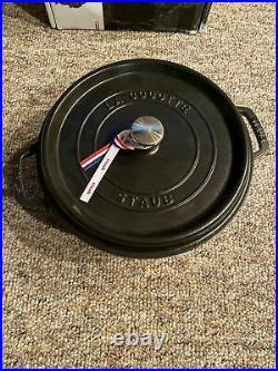 New Staub 4-Quart Round La Cocotte (Matte Black) Enameled Cast Iron Dutch Oven