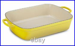 Nib Le Creuset Soleil Yellow Signature Cast Iron Roaster Pan 5.25 Qt Rare