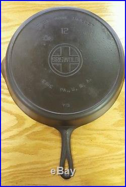 No. 12 Griswold Cast Iron Skillet- Erie, PA- Large Block Lettering- Heat Ring