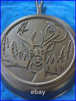 Original Lodge Wildlife Series Cast Iron Number 8 Skillet, Buck Heat Ring, HTF