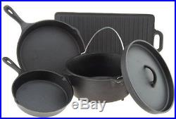 Outdoor Gourmet 5-Piece Cast-Iron Cookware Set Skillets Dutch Oven Lid Gridle