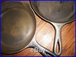 Pair-Vtg. GRISWOLD Large Block Logo #699B & #701A /Cast Iron Skillets Size 6 & 7