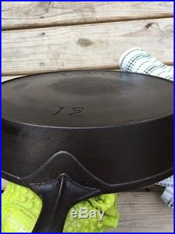 Pre-Griswold Cast Iron ERIE 12 Skillet First Series Heat Ring Sits Flat Erie