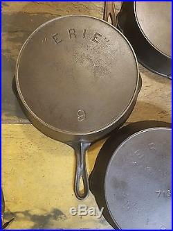 Pre Griswold cast iron ERIE Set 3x8, 3x9, 2x10