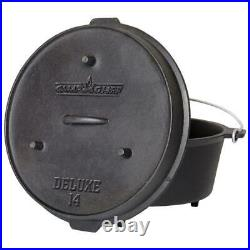 Preseasoned Dutch Oven Cast Iron 14 in. Lid Outdoor Camping Chef Cooking Fire