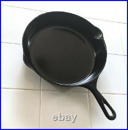 RARE #8 GRISWOLD LATE MODEL SLANT FLAT-BOTTOM SKILLET withERIE GHOST MARK PN 704A