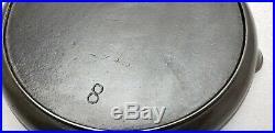 RARE #8 SIDNEY Script 3 Hole Handle Cast Iron Shallow Skillet Griddle HTF